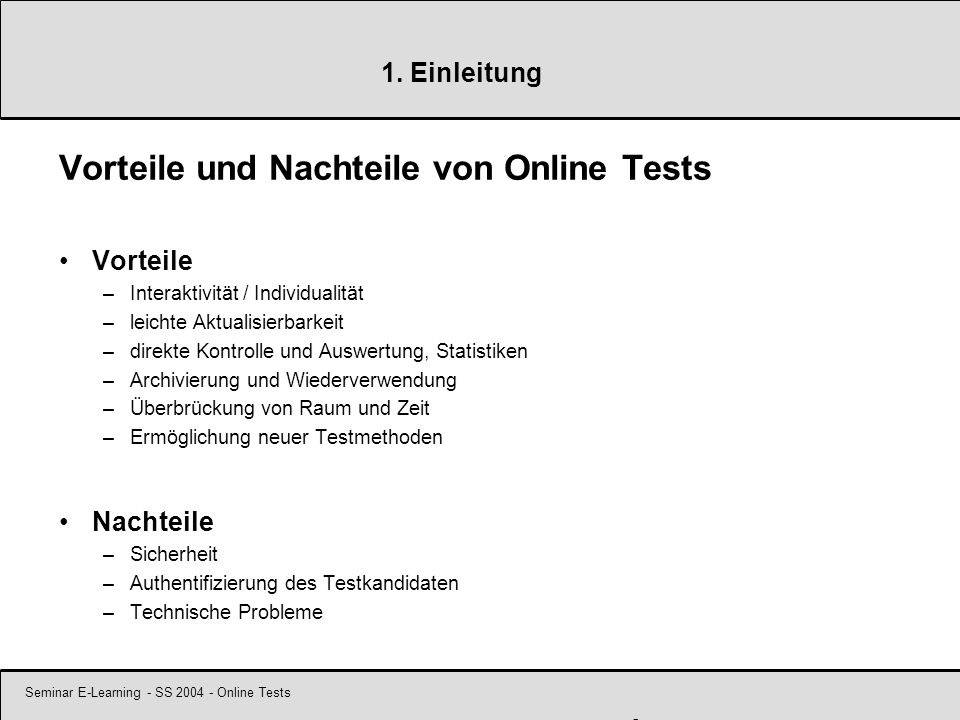 Seminar E-Learning - SS 2004 - Online Tests 6 2.