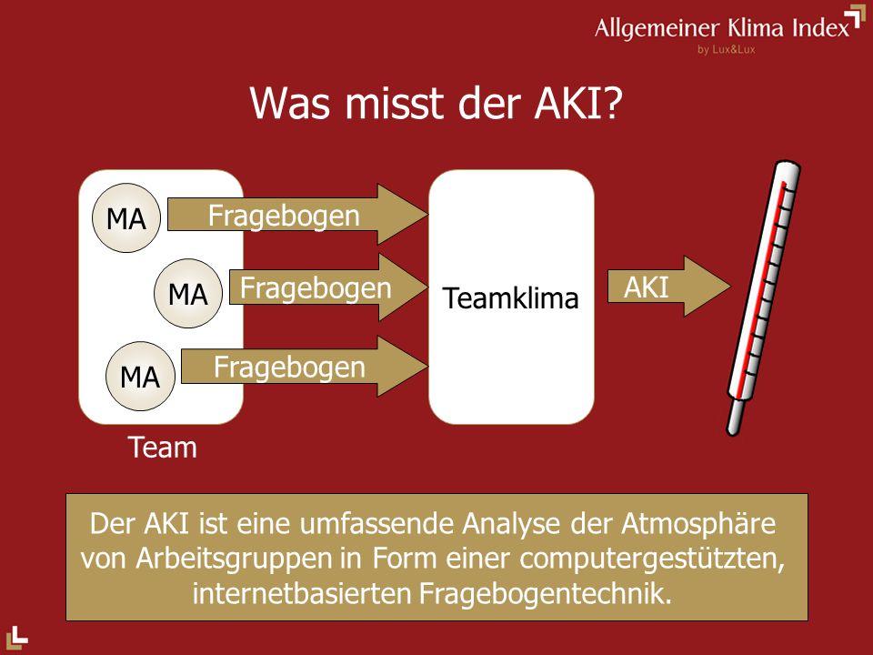 Was misst der AKI? Der AKI ist eine umfassende Analyse der Atmosphäre von Arbeitsgruppen in Form einer computergestützten, internetbasierten Frageboge
