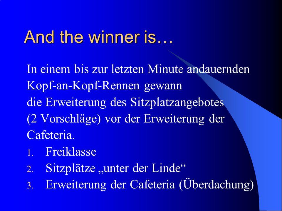 And the winner is… In einem bis zur letzten Minute andauernden Kopf-an-Kopf-Rennen gewann die Erweiterung des Sitzplatzangebotes (2 Vorschläge) vor de