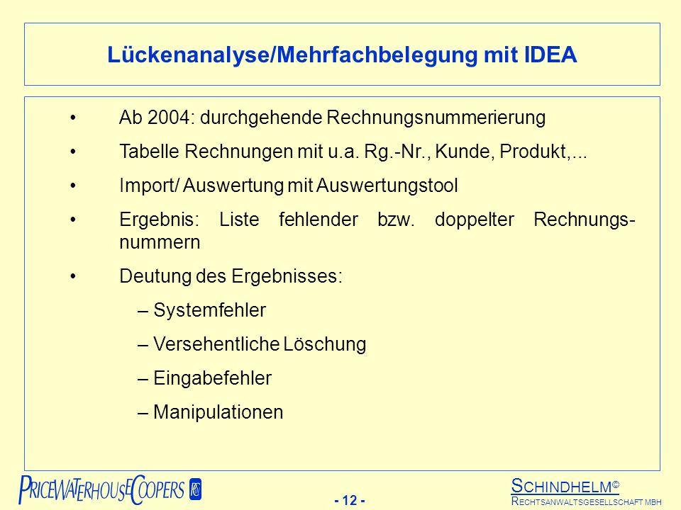 S CHINDHELM © - 12 - R ECHTSANWALTSGESELLSCHAFT MBH Lückenanalyse/Mehrfachbelegung mit IDEA Ab 2004: durchgehende Rechnungsnummerierung Tabelle Rechnungen mit u.a.