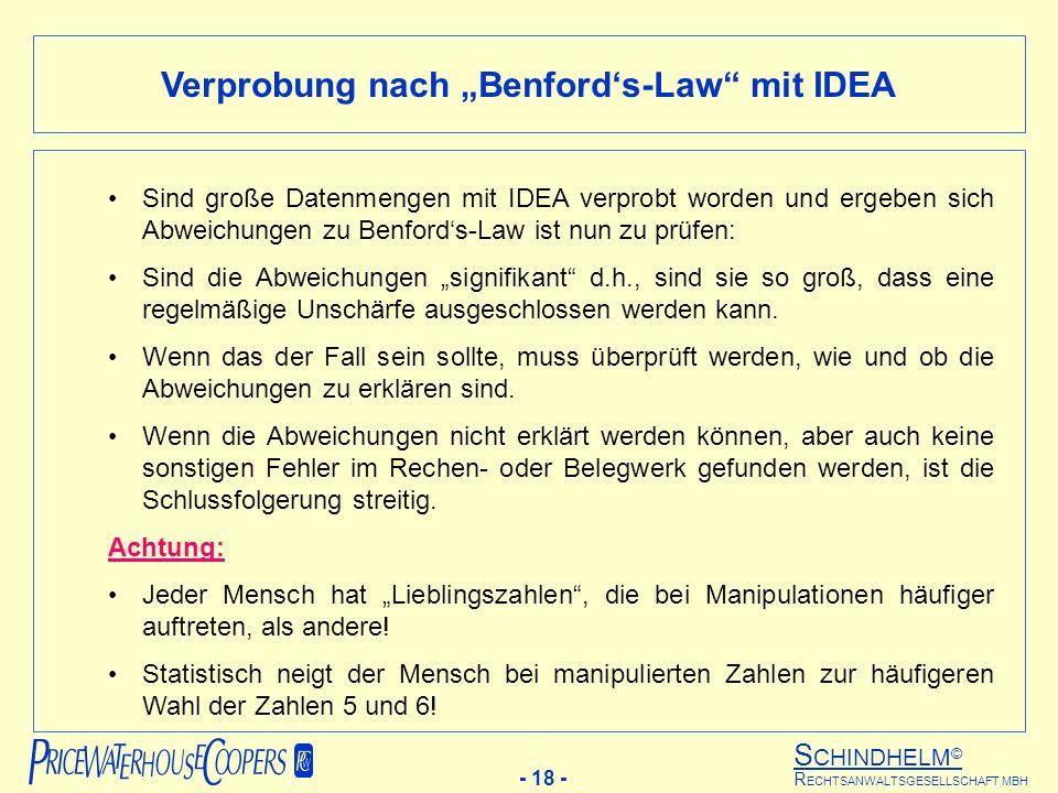 S CHINDHELM © - 18 - R ECHTSANWALTSGESELLSCHAFT MBH Verprobung nach Benfords-Law mit IDEA Sind große Datenmengen mit IDEA verprobt worden und ergeben sich Abweichungen zu Benfords-Law ist nun zu prüfen: Sind die Abweichungen signifikant d.h., sind sie so groß, dass eine regelmäßige Unschärfe ausgeschlossen werden kann.