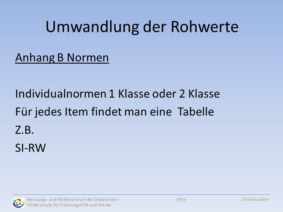 Umwandlung der Rohwerte Anhang B Normen Individualnormen 1 Klasse oder 2 Klasse Für jedes Item findet man eine Tabelle Z.B. SI-RW Beratungs- und Förde