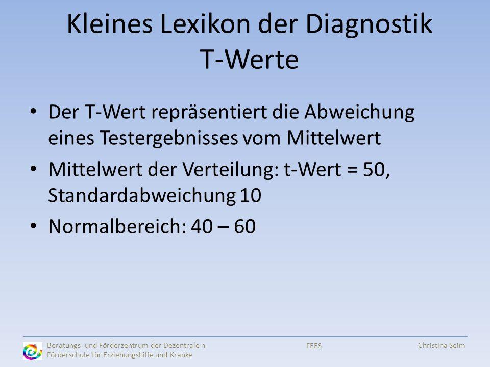 Kleines Lexikon der Diagnostik T-Werte Der T-Wert repräsentiert die Abweichung eines Testergebnisses vom Mittelwert Mittelwert der Verteilung: t-Wert