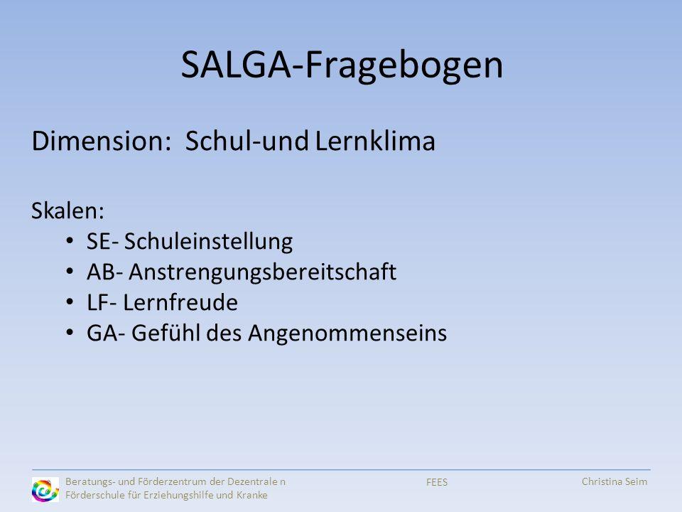SALGA-Fragebogen Dimension: Schul-und Lernklima Skalen: SE- Schuleinstellung AB- Anstrengungsbereitschaft LF- Lernfreude GA- Gefühl des Angenommensein