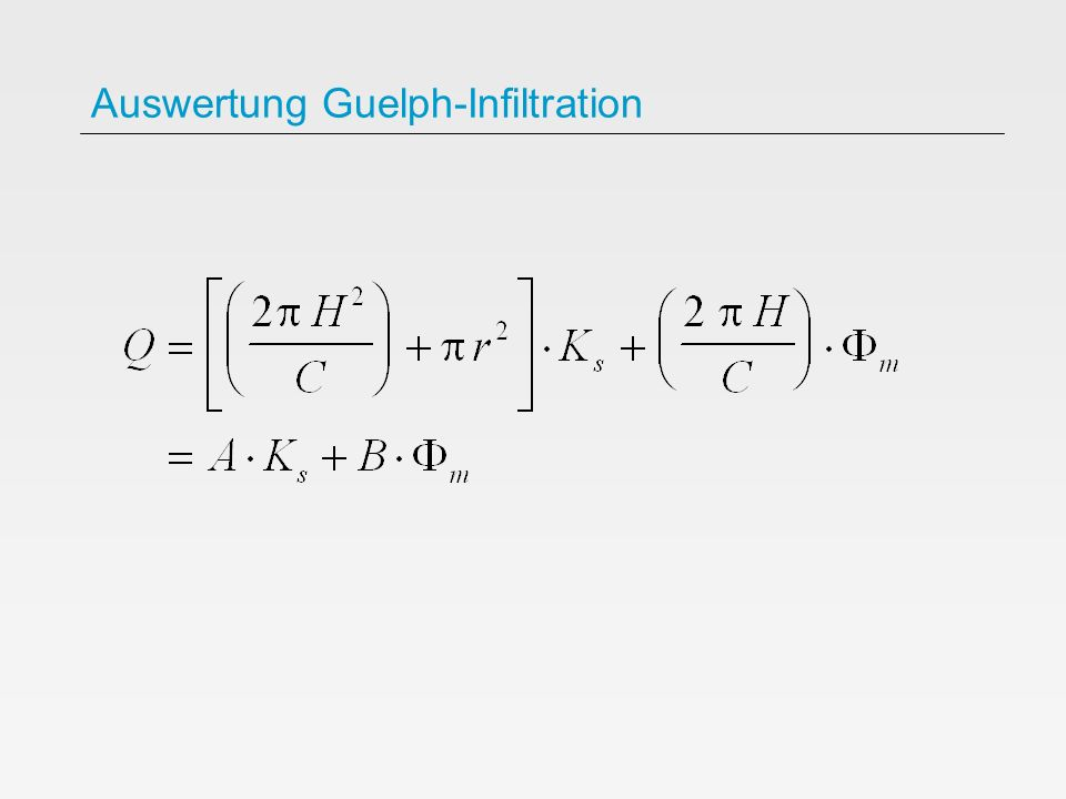 Auswertung Guelph-Infiltration