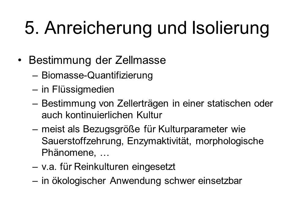 5. Anreicherung und Isolierung Bestimmung der Zellmasse –Biomasse-Quantifizierung –in Flüssigmedien –Bestimmung von Zellerträgen in einer statischen o