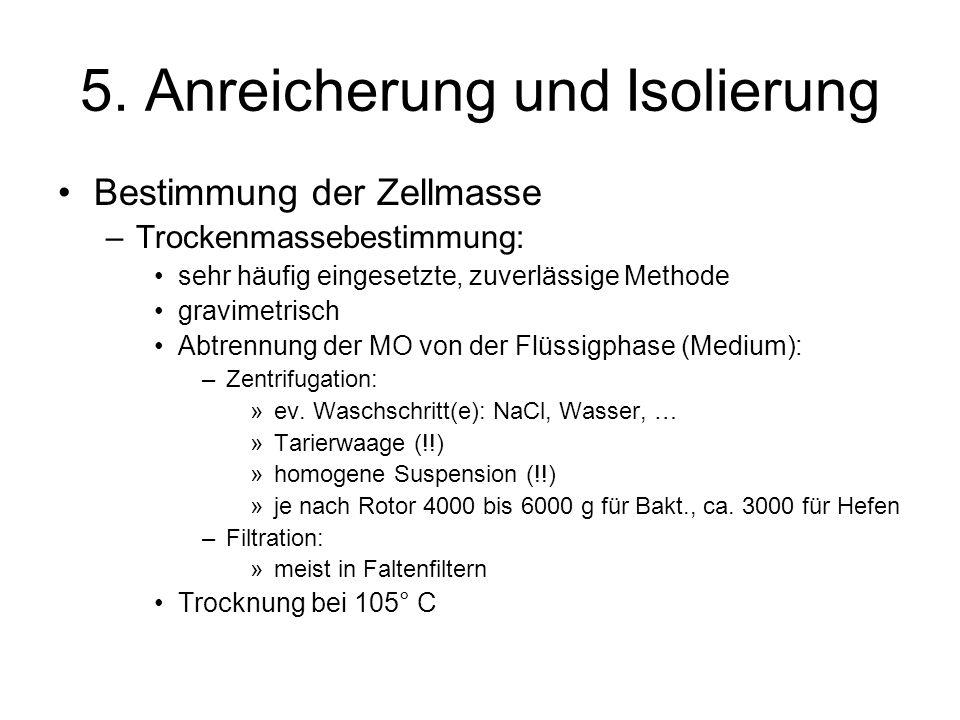 5. Anreicherung und Isolierung Bestimmung der Zellmasse –Trockenmassebestimmung: sehr häufig eingesetzte, zuverlässige Methode gravimetrisch Abtrennun