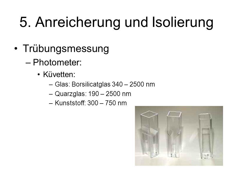5. Anreicherung und Isolierung Trübungsmessung –Photometer: Küvetten: –Glas: Borsilicatglas 340 – 2500 nm –Quarzglas: 190 – 2500 nm –Kunststoff: 300 –