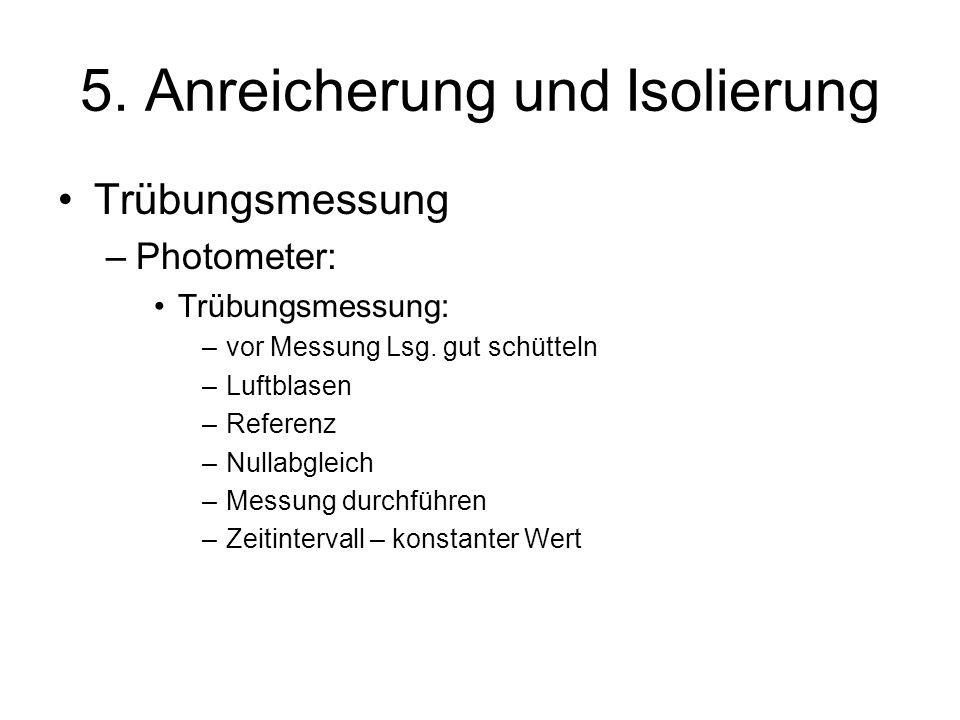 5. Anreicherung und Isolierung Trübungsmessung –Photometer: Trübungsmessung: –vor Messung Lsg. gut schütteln –Luftblasen –Referenz –Nullabgleich –Mess