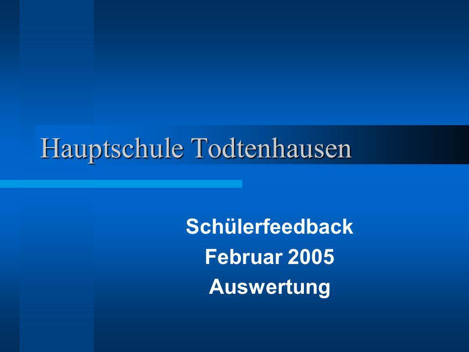Hauptschule Todtenhausen Schülerfeedback Februar 2005 Auswertung