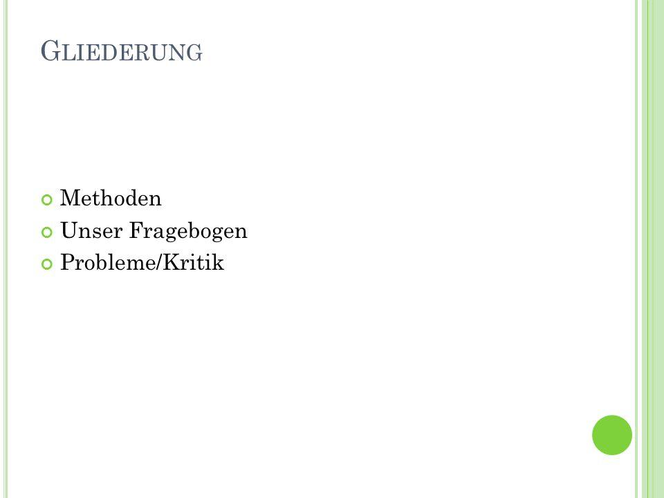 M ETHODEN Gespräch/ Interview Fragebogen Beobachtung Kärtchenmethode Brainstorming SWOT- Analyse