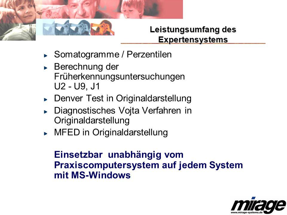 Somatogramme / Perzentilen Berechnung der Früherkennungsuntersuchungen U2 - U9, J1 Denver Test in Originaldarstellung Diagnostisches Vojta Verfahren in Originaldarstellung MFED in Originaldarstellung Einsetzbar unabhängig vom Praxiscomputersystem auf jedem System mit MS-Windows Leistungsumfang des Expertensystems