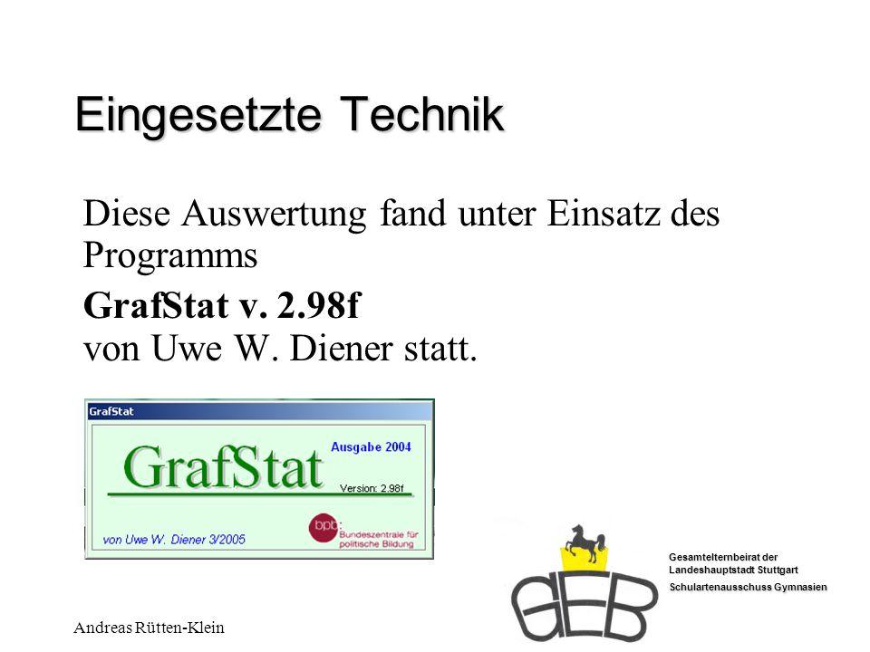 Gesamtelternbeirat der Landeshauptstadt Stuttgart Schulartenausschuss Gymnasien Andreas Rütten-Klein Eingesetzte Technik Diese Auswertung fand unter E
