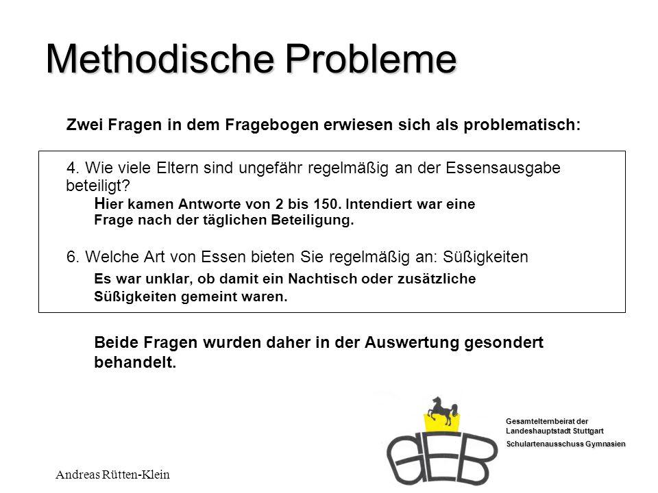 Gesamtelternbeirat der Landeshauptstadt Stuttgart Schulartenausschuss Gymnasien Andreas Rütten-Klein Methodische Probleme Zwei Fragen in dem Frageboge