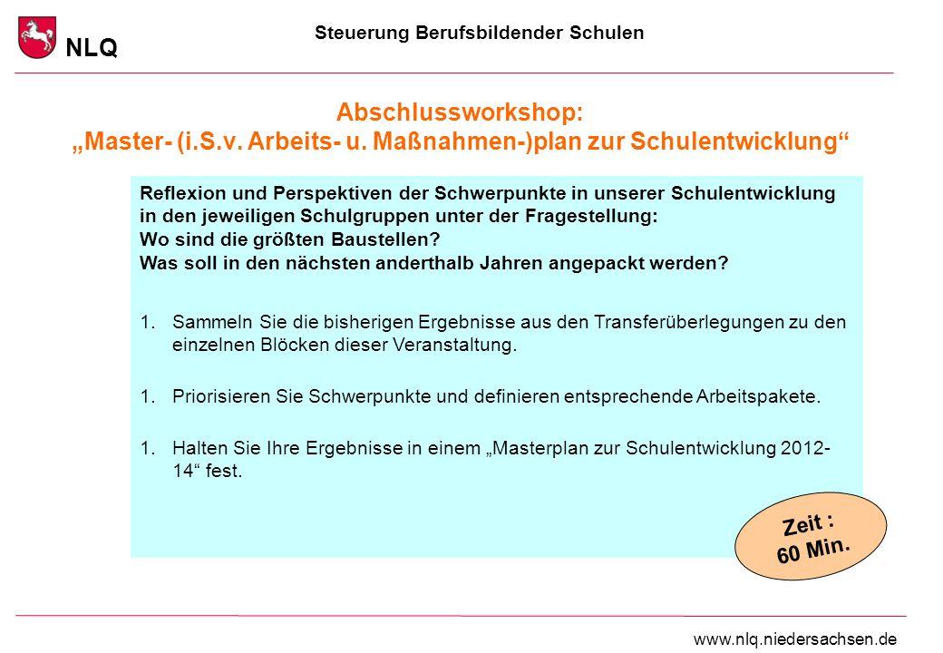 Steuerung Berufsbildender Schulen NLQ www.nlq.niedersachsen.de Abschlussworkshop: Master- (i.S.v.
