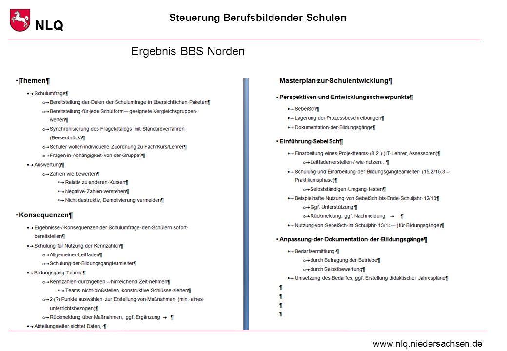 Steuerung Berufsbildender Schulen NLQ www.nlq.niedersachsen.de NLQ Ergebnis BBS Norden