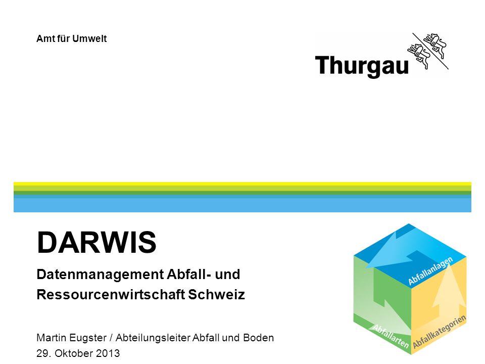 Amt für Umwelt DARWIS Datenmanagement Abfall- und Ressourcenwirtschaft Schweiz Martin Eugster / Abteilungsleiter Abfall und Boden 29.