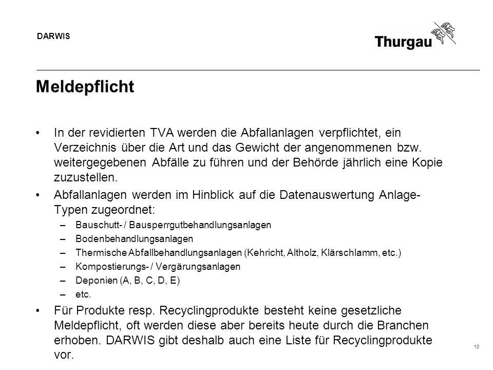 DARWIS 10 Meldepflicht In der revidierten TVA werden die Abfallanlagen verpflichtet, ein Verzeichnis über die Art und das Gewicht der angenommenen bzw.