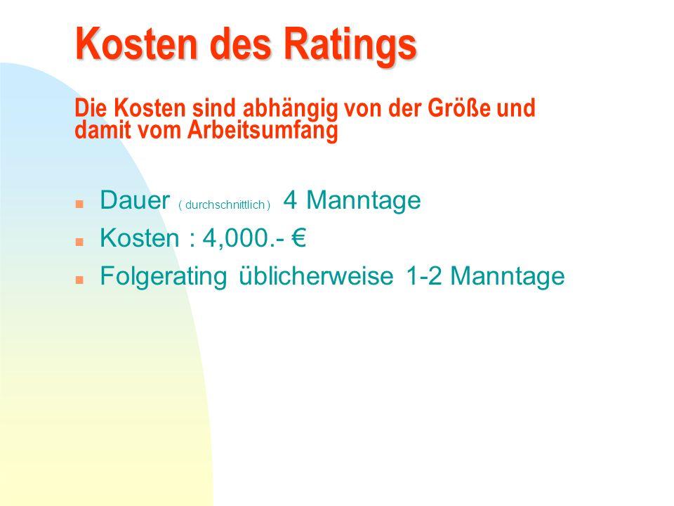 Kosten des Ratings Kosten des Ratings Die Kosten sind abhängig von der Größe und damit vom Arbeitsumfang n Dauer ( durchschnittlich ) 4 Manntage n Kos