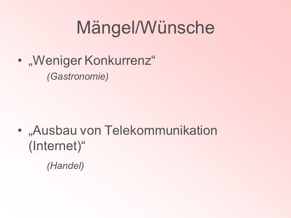 Mängel/Wünsche Weniger Konkurrenz (Gastronomie) Ausbau von Telekommunikation (Internet) (Handel)