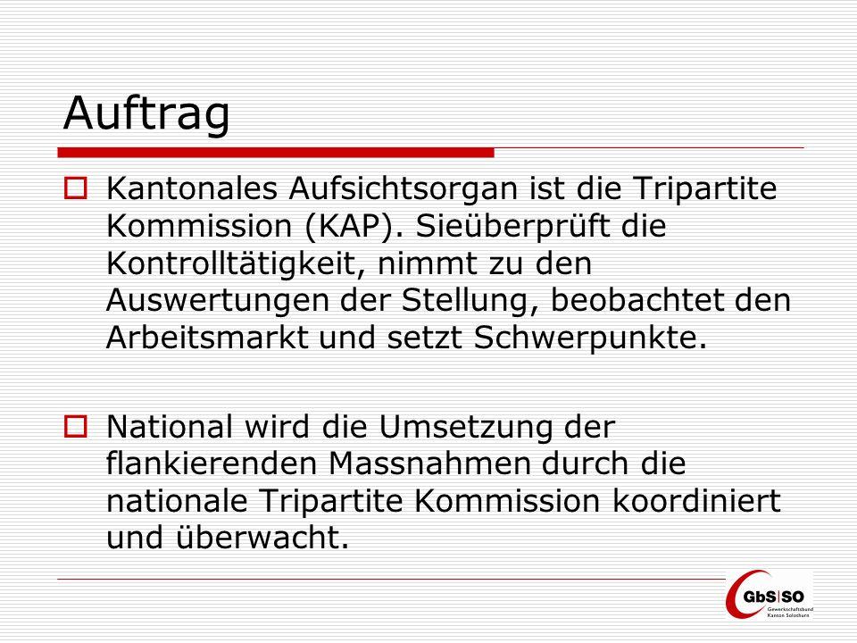 Umsetzung im Kanton Solothurn Für die Kontrollen der Branchen mit einem allgemeinverbindlich erklärten Gesamtarbeitsvertrag (GAV) wurde Ende 2007 die Arbeitskontrollstelle Kanton Solothurn (AKS) durch die Sozialpartner gegründet.