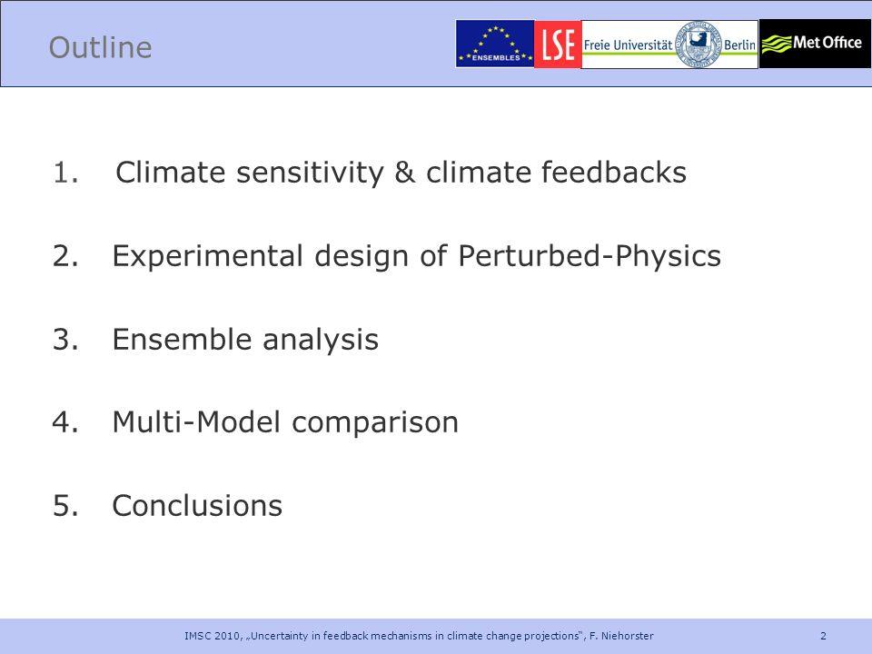 2 Outline 1. Climate sensitivity & climate feedbacks 2. Experimental design of Perturbed-Physics 3. Ensemble analysis 4. Multi-Model comparison 5. Con