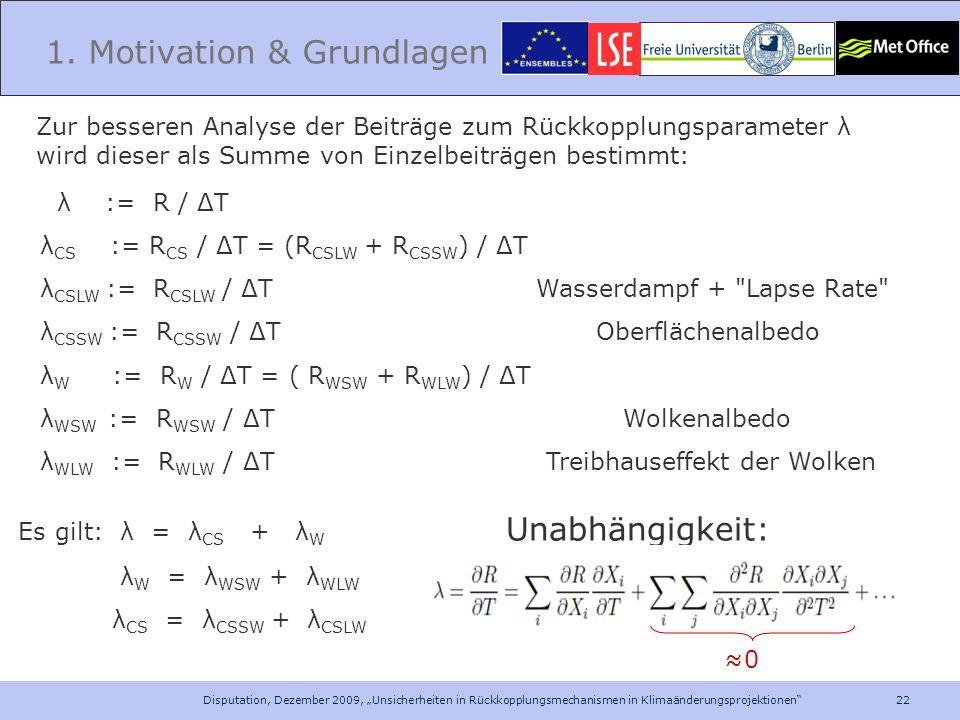 22 Disputation, Dezember 2009, Unsicherheiten in Rückkopplungsmechanismen in Klimaänderungsprojektionen 1. Motivation & Grundlagen Zur besseren Analys