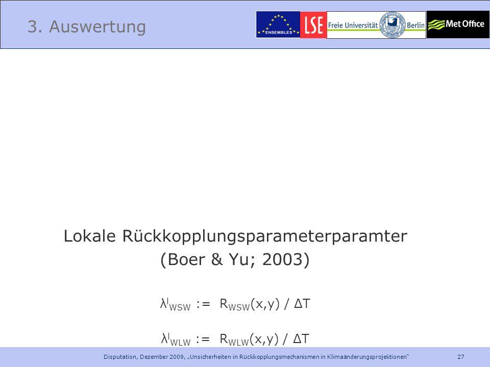 27 Disputation, Dezember 2009, Unsicherheiten in Rückkopplungsmechanismen in Klimaänderungsprojektionen 3. Auswertung Lokale Rückkopplungsparameterpar