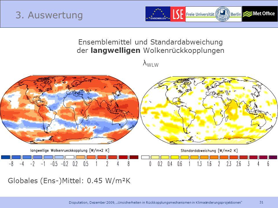 31 Disputation, Dezember 2009, Unsicherheiten in Rückkopplungsmechanismen in Klimaänderungsprojektionen 3. Auswertung Ensemblemittel und Standardabwei