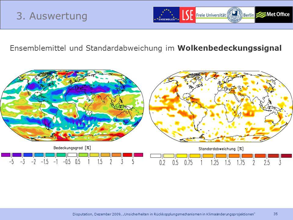 35 Disputation, Dezember 2009, Unsicherheiten in Rückkopplungsmechanismen in Klimaänderungsprojektionen 3. Auswertung Ensemblemittel und Standardabwei
