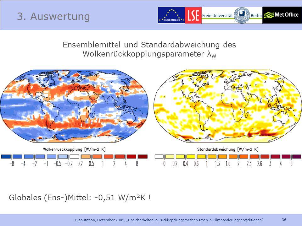 36 Disputation, Dezember 2009, Unsicherheiten in Rückkopplungsmechanismen in Klimaänderungsprojektionen 3. Auswertung Ensemblemittel und Standardabwei