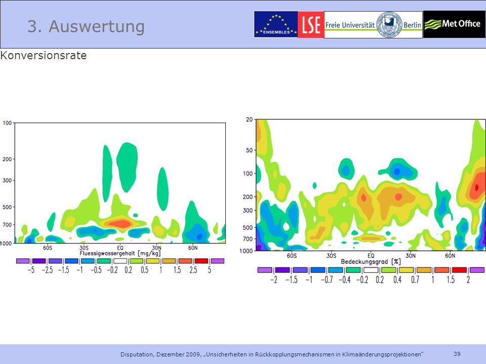 39 Disputation, Dezember 2009, Unsicherheiten in Rückkopplungsmechanismen in Klimaänderungsprojektionen 3. Auswertung Konversionsrate