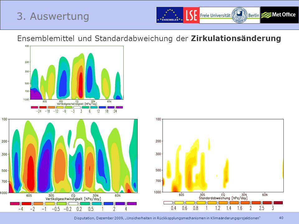 40 Disputation, Dezember 2009, Unsicherheiten in Rückkopplungsmechanismen in Klimaänderungsprojektionen 3. Auswertung Ensemblemittel und Standardabwei