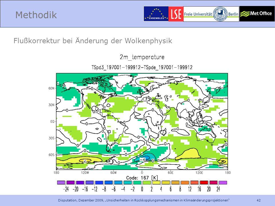 42 Disputation, Dezember 2009, Unsicherheiten in Rückkopplungsmechanismen in Klimaänderungsprojektionen Methodik Flußkorrektur bei Änderung der Wolken