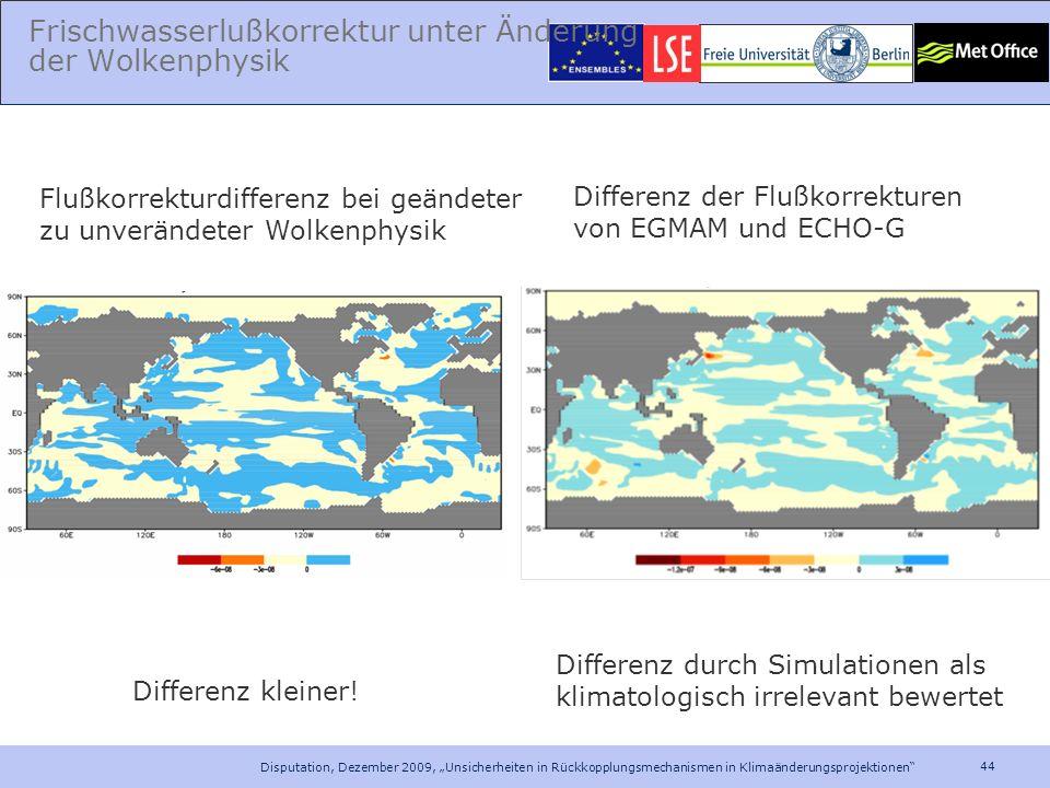 44 Disputation, Dezember 2009, Unsicherheiten in Rückkopplungsmechanismen in Klimaänderungsprojektionen Frischwasserlußkorrektur unter Änderung der Wo