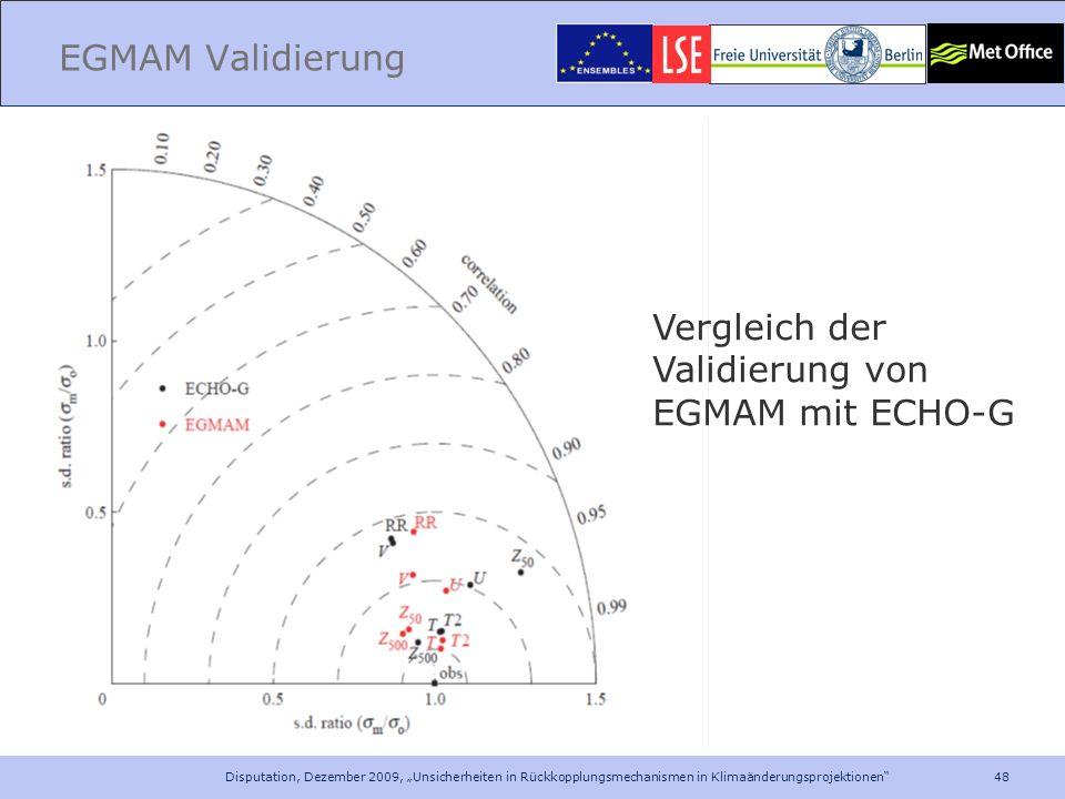 48 Disputation, Dezember 2009, Unsicherheiten in Rückkopplungsmechanismen in Klimaänderungsprojektionen EGMAM Validierung Vergleich der Validierung vo