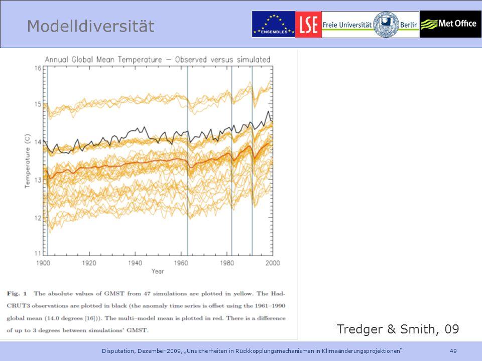 49 Disputation, Dezember 2009, Unsicherheiten in Rückkopplungsmechanismen in Klimaänderungsprojektionen Modelldiversität Tredger & Smith, 09