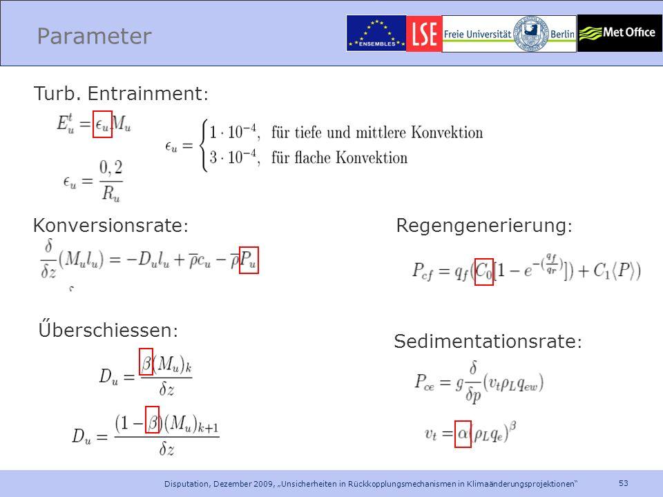 53 Disputation, Dezember 2009, Unsicherheiten in Rückkopplungsmechanismen in Klimaänderungsprojektionen Parameter Űberschiessen : Turb. Entrainment :