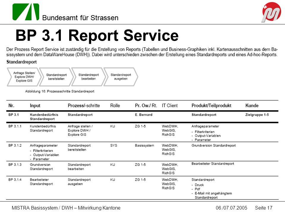 Bundesamt für Strassen 06./07.07.2005MISTRA Basissystem / DWH – Mitwirkung Kantone Seite 17 BP 3.1 Report Service