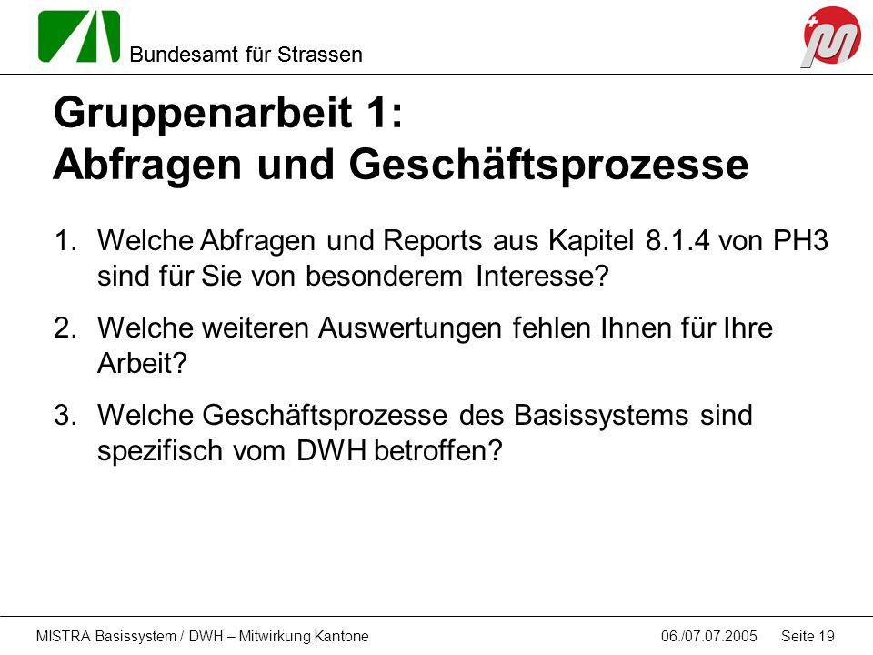 Bundesamt für Strassen 06./07.07.2005MISTRA Basissystem / DWH – Mitwirkung Kantone Seite 19 Gruppenarbeit 1: Abfragen und Geschäftsprozesse 1.Welche A