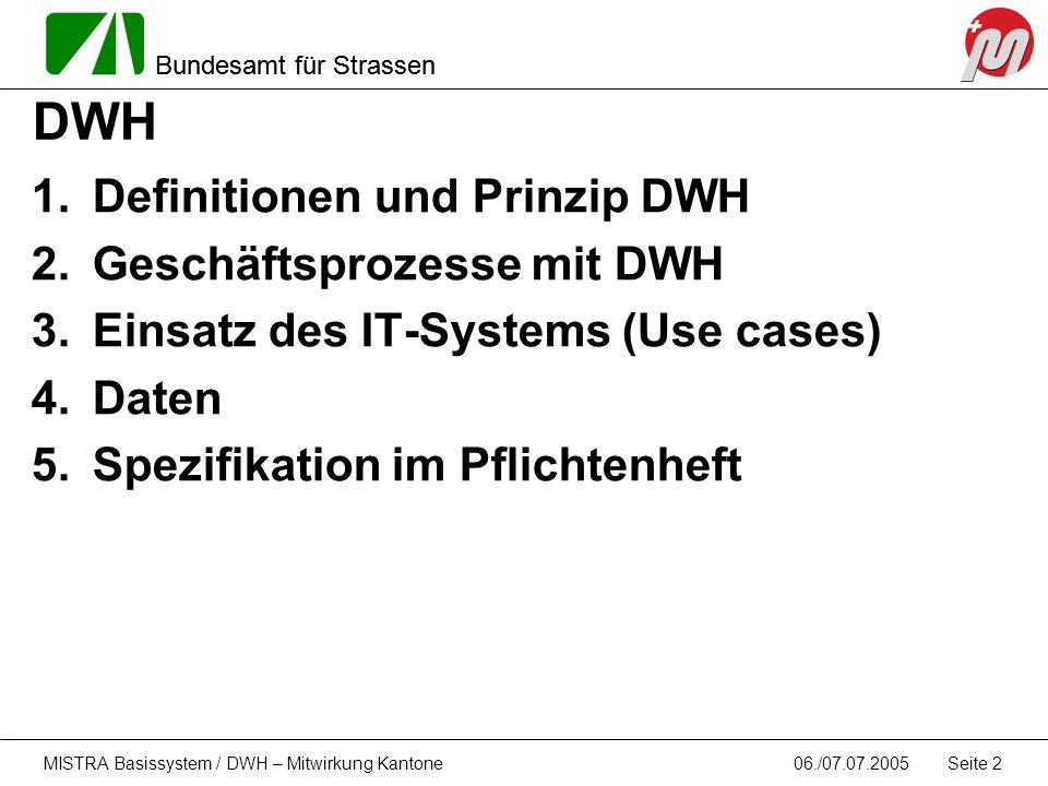 Bundesamt für Strassen 06./07.07.2005MISTRA Basissystem / DWH – Mitwirkung Kantone Seite 2 DWH 1.Definitionen und Prinzip DWH 2.Geschäftsprozesse mit