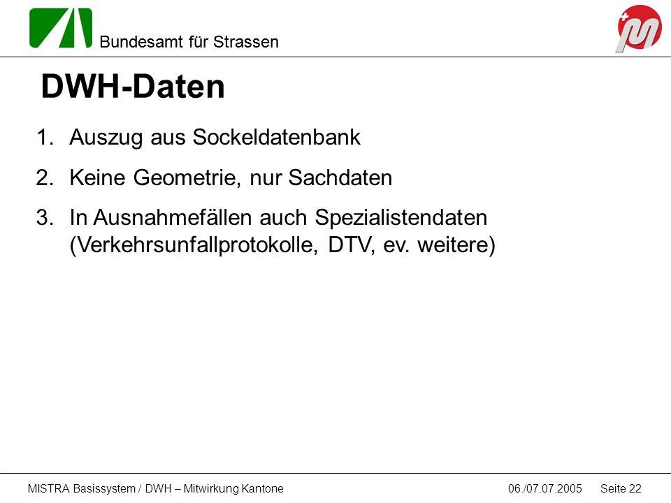 Bundesamt für Strassen 06./07.07.2005MISTRA Basissystem / DWH – Mitwirkung Kantone Seite 22 DWH-Daten 1.Auszug aus Sockeldatenbank 2.Keine Geometrie,