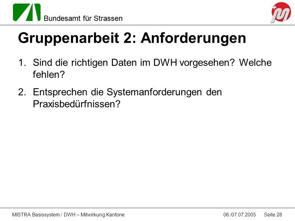 Bundesamt für Strassen 06./07.07.2005MISTRA Basissystem / DWH – Mitwirkung Kantone Seite 28 Gruppenarbeit 2: Anforderungen 1.Sind die richtigen Daten
