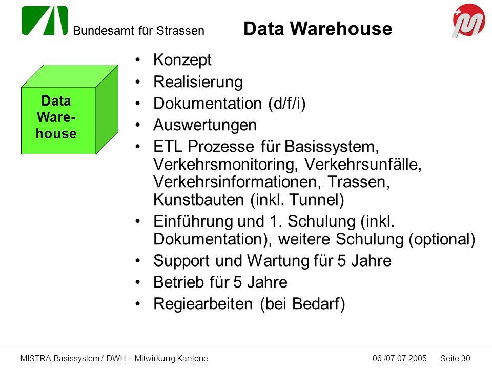 Bundesamt für Strassen 06./07.07.2005MISTRA Basissystem / DWH – Mitwirkung Kantone Seite 30 Konzept Realisierung Dokumentation (d/f/i) Auswertungen ET