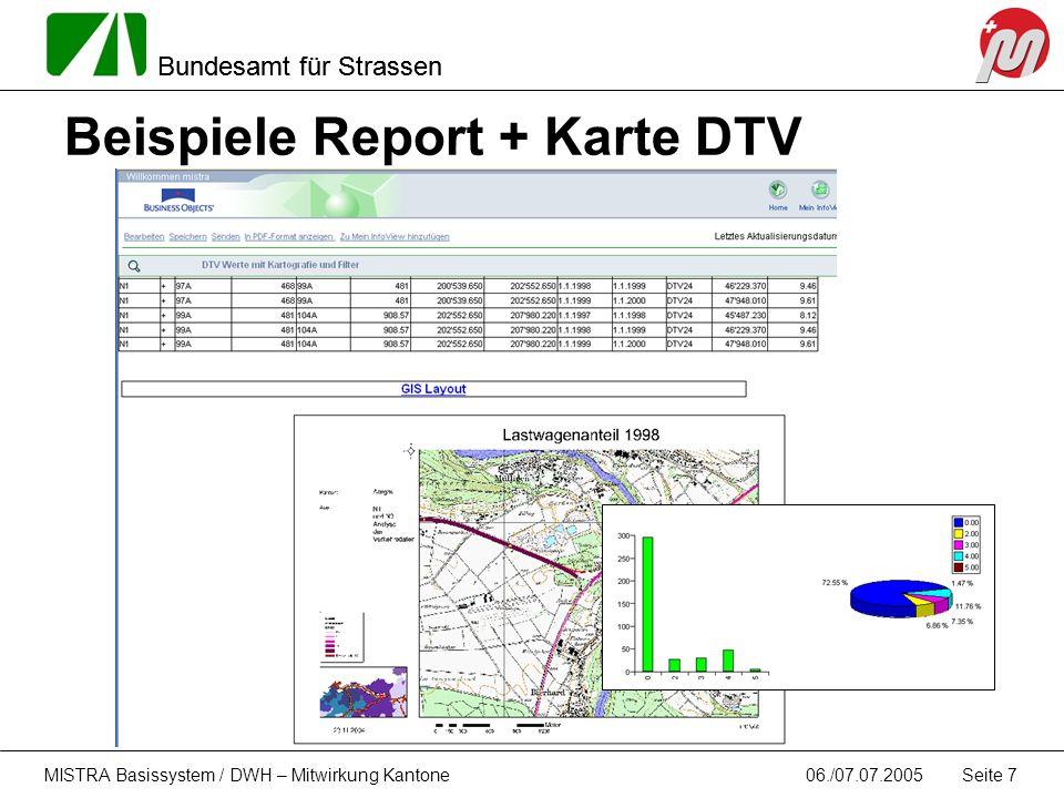 Bundesamt für Strassen 06./07.07.2005MISTRA Basissystem / DWH – Mitwirkung Kantone Seite 7 Beispiele Report + Karte DTV