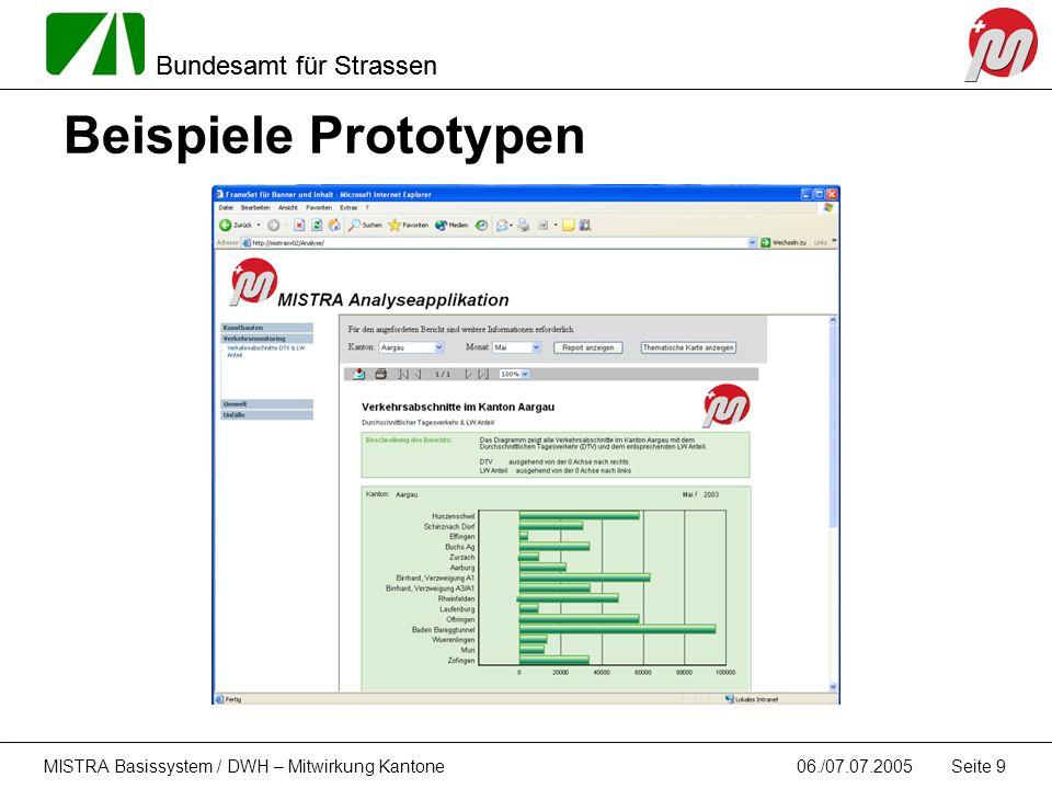 Bundesamt für Strassen 06./07.07.2005MISTRA Basissystem / DWH – Mitwirkung Kantone Seite 9 Beispiele Prototypen