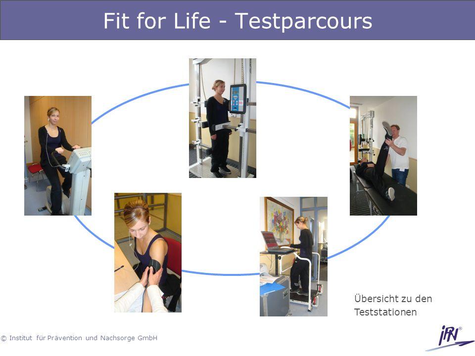 © Institut für Prävention und Nachsorge GmbH Fit for Life - Testparcours Übersicht zu den Teststationen