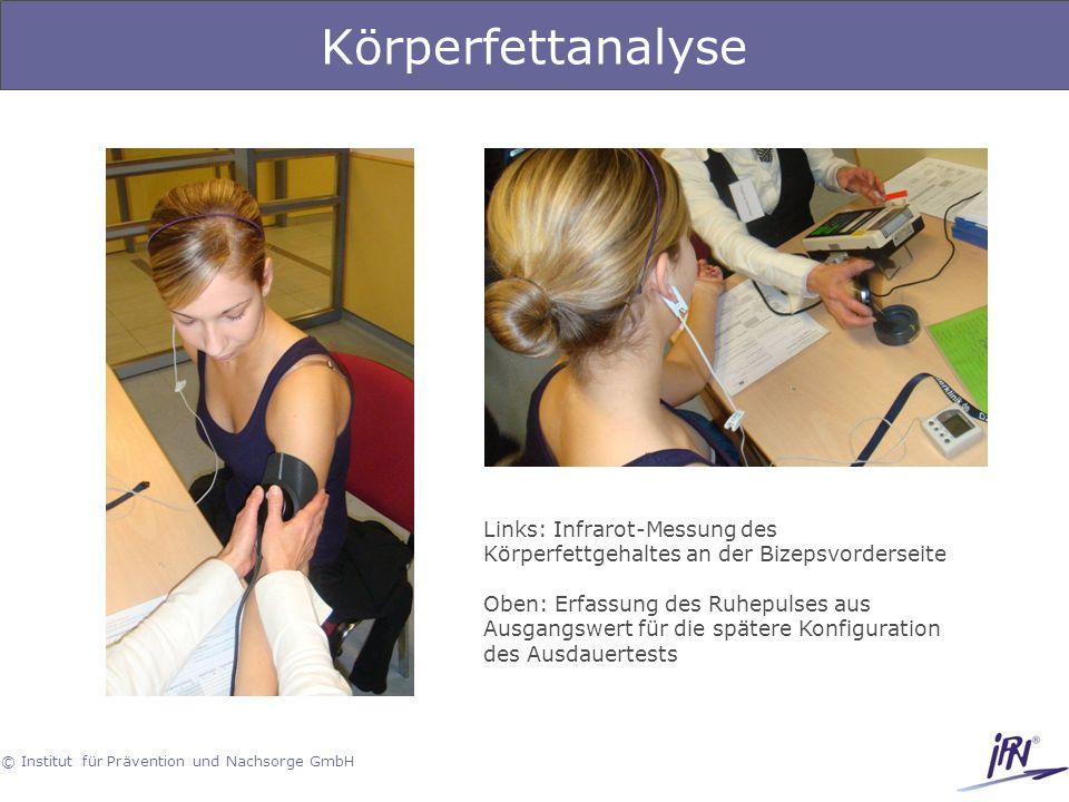 © Institut für Prävention und Nachsorge GmbH Körperfettanalyse Links: Infrarot-Messung des Körperfettgehaltes an der Bizepsvorderseite Oben: Erfassung