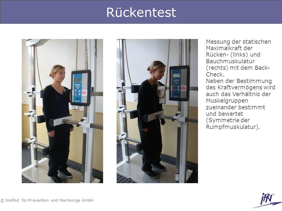 © Institut für Prävention und Nachsorge GmbH Rückentest Messung der statischen Maximalkraft der Rücken- (links) und Bauchmuskulatur (rechts) mit dem B