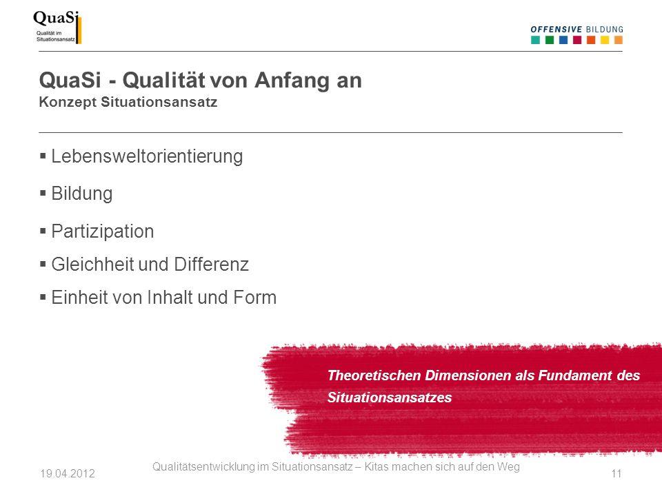 QuaSi - Qualität von Anfang an Konzept Situationsansatz Theoretischen Dimensionen als Fundament des Situationsansatzes Lebensweltorientierung Bildung